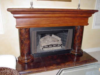 Woodgrain and marble fireplace finish Orange County Faux Finishes